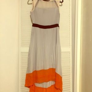 Colorblock Pleated High-Low Dress